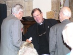 Rev Daniel Foote greets X and Lloyd at St James prior to service.JPG