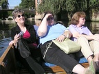 Christy, Isabelle and Carol enjoying the warmth of the September sun on the River Cam.JPG