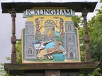 Icklingham sign near the thatched roof church, All Saints.JPG