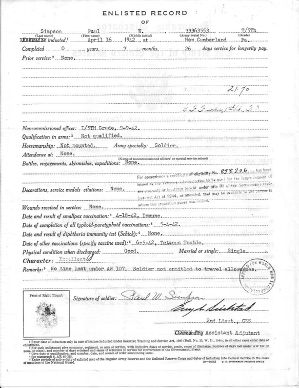 Enlisted Record Of Service Page 1 of 2