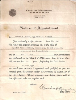 Notice of Appointment, 1938